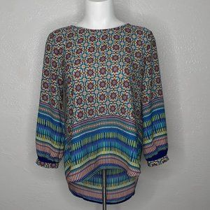 MERAKI Teal Multicolored Geometric Drape Back Top